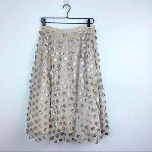 Eva Franco   Payette Metallic appliqué midi skirt